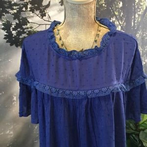 Suzanne Betro NWT 1X Swiss Dot Blue Top Blouse